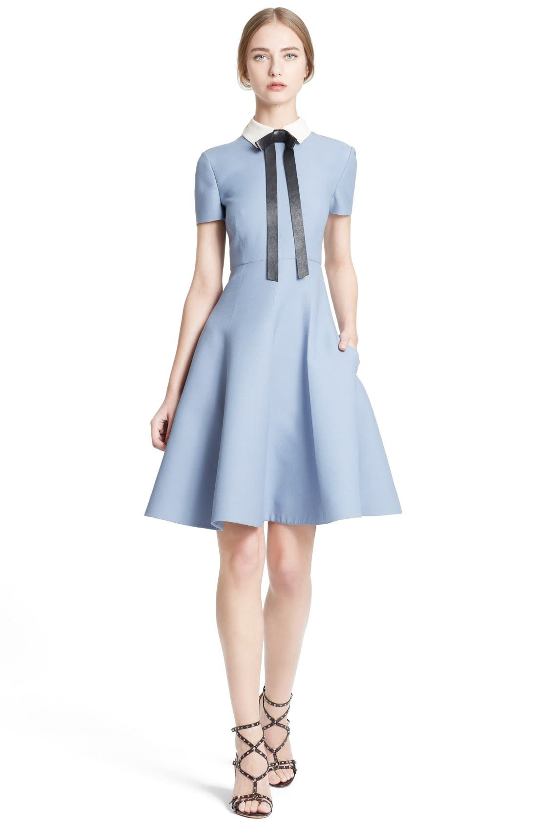 Alternate Image 1 Selected - Valentino Bow Neck Short Sleeve A-Line Dress