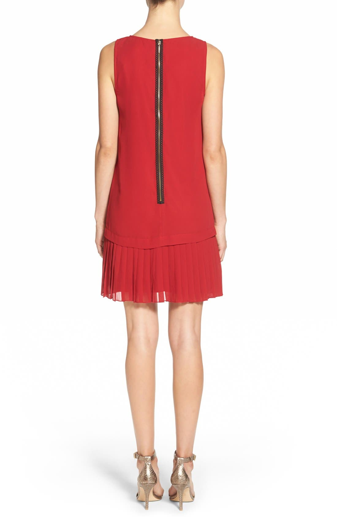 Alternate Image 2  - kensie Pleat Hem Drop Waist Shift Dress