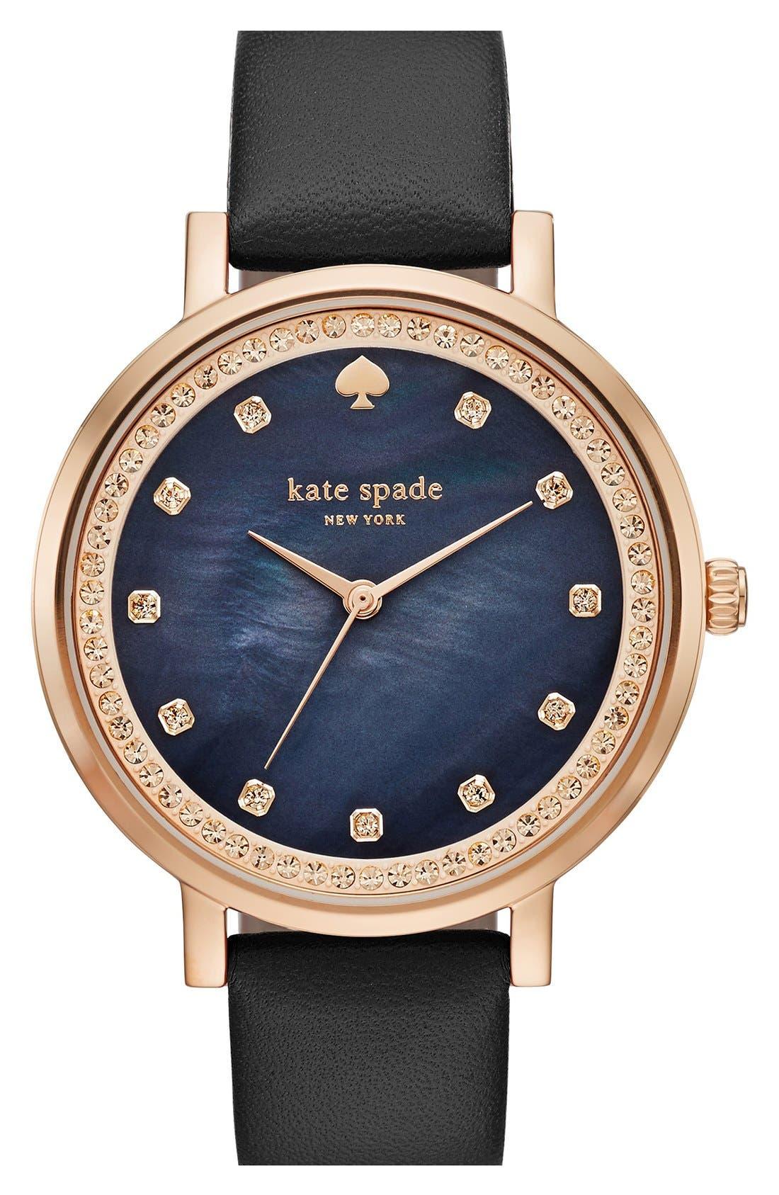 'monterey' leather strap watch, 35mm,                         Main,                         color, Black/ Black