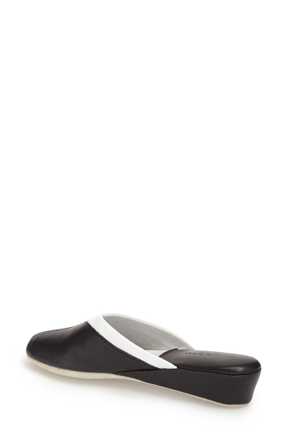 'Valerie' Wedge Mule Slipper,                             Alternate thumbnail 3, color,                             Black Leather