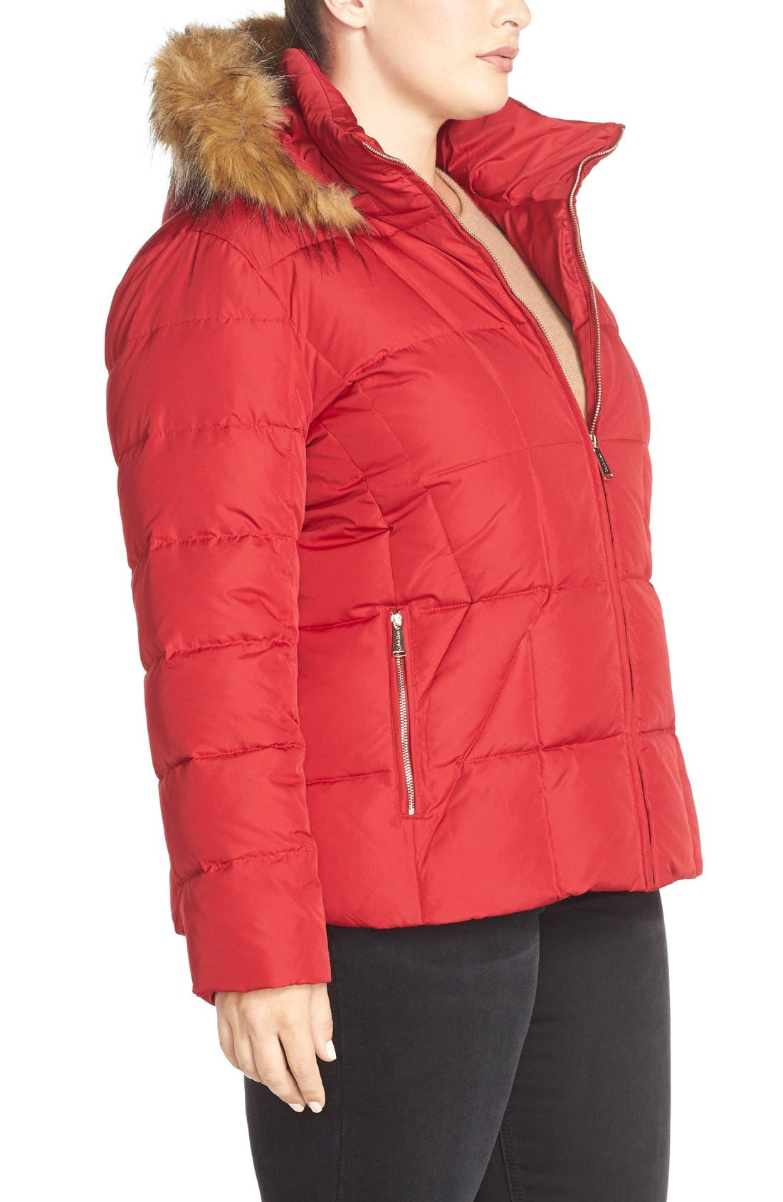 Alternate Image 3  - Calvin Klein Hooded Down & Feather Fill Jacket with Faux Fur Trim (Plus Size)