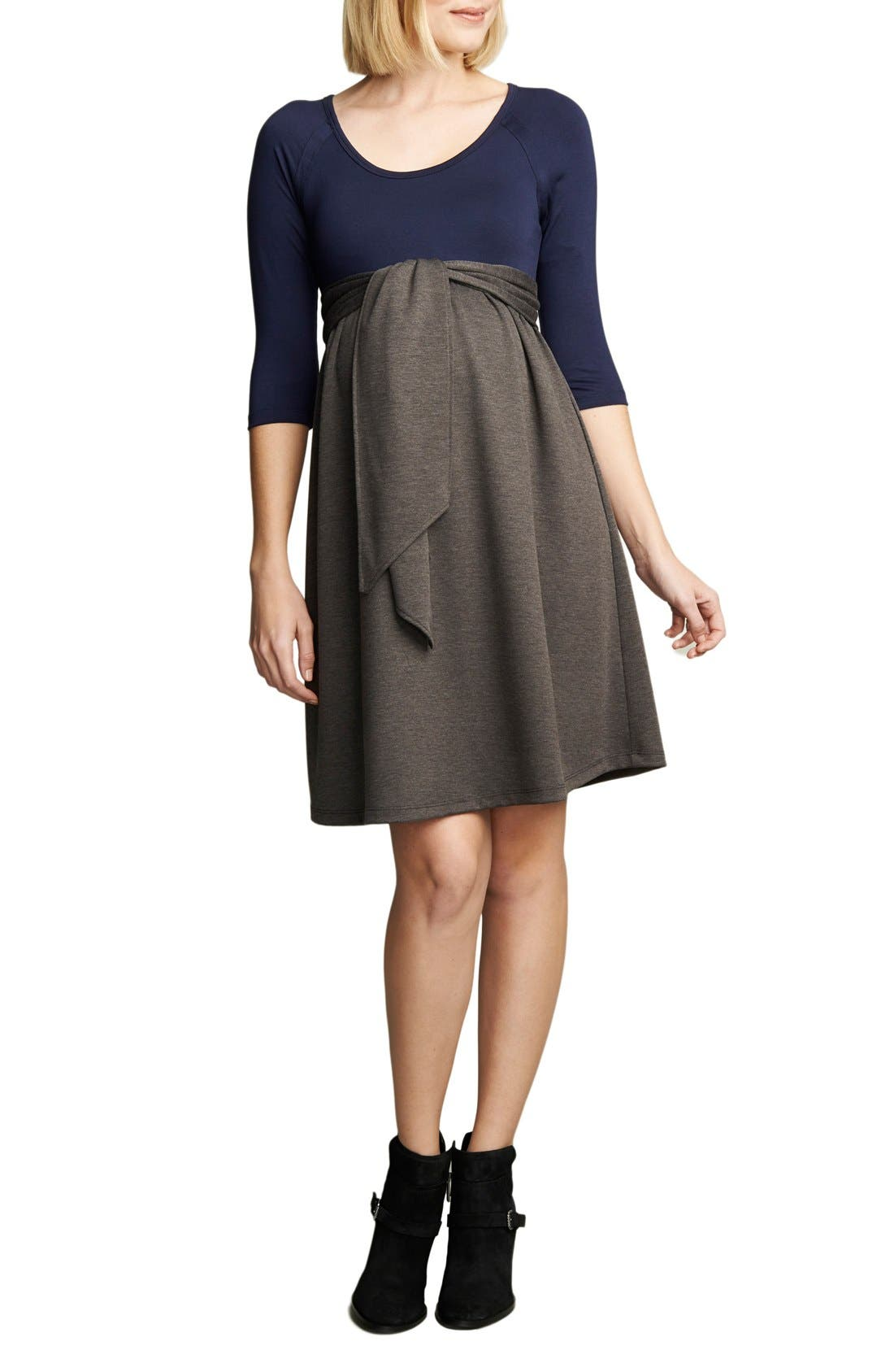 Tie Front Maternity Dress,                             Main thumbnail 1, color,                             Navy/Charcoal