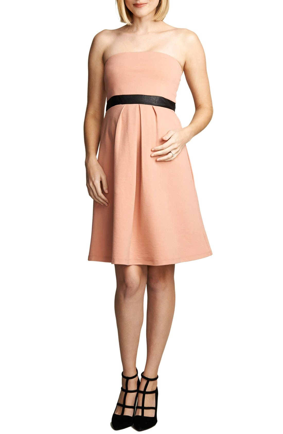 Strapless Maternity Dress,                         Main,                         color, Blush/ Black