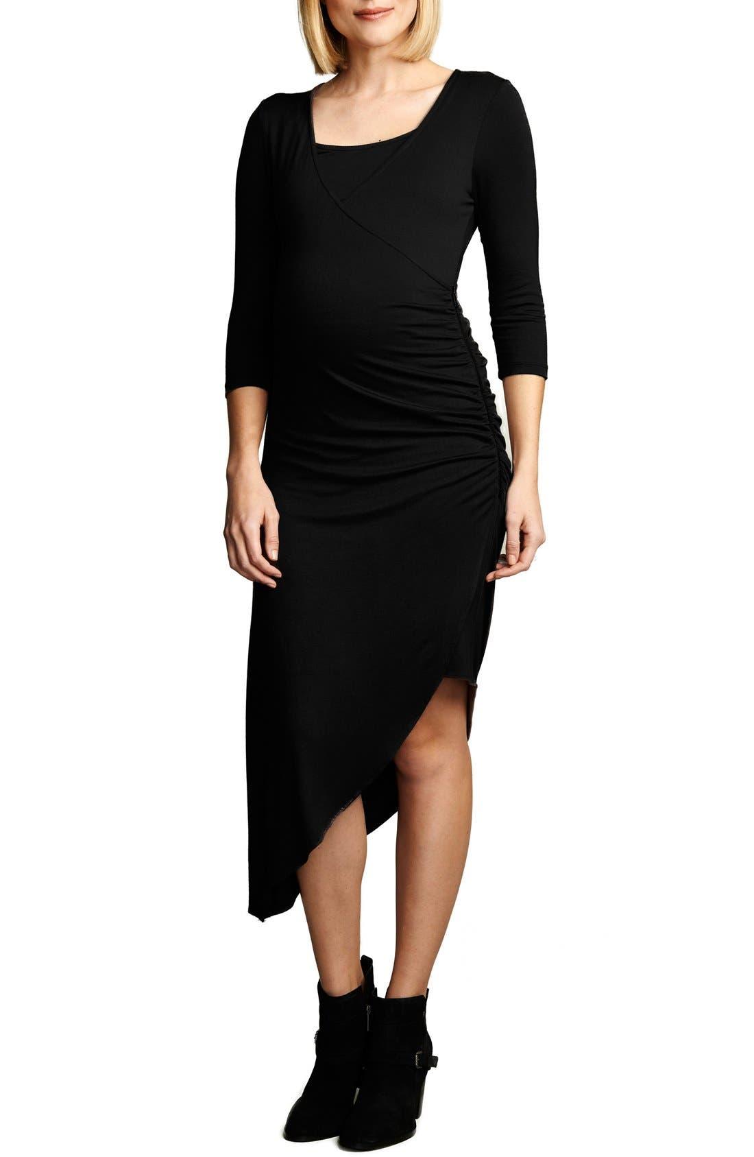 MATERNAL AMERICA Asymmetrical Hem Nursing Dress