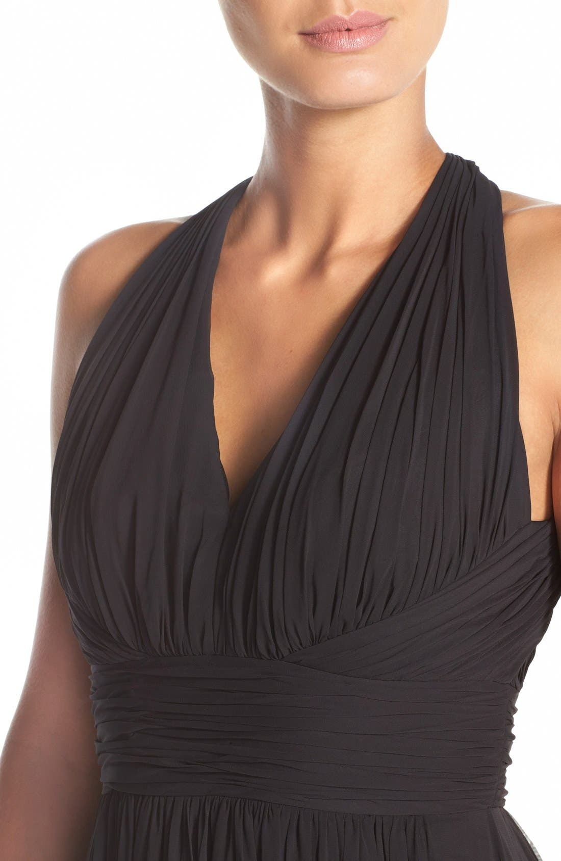 Dessy Collection Ruched Chiffon V-Neck Halter Gown,                             Alternate thumbnail 4, color,                             Black