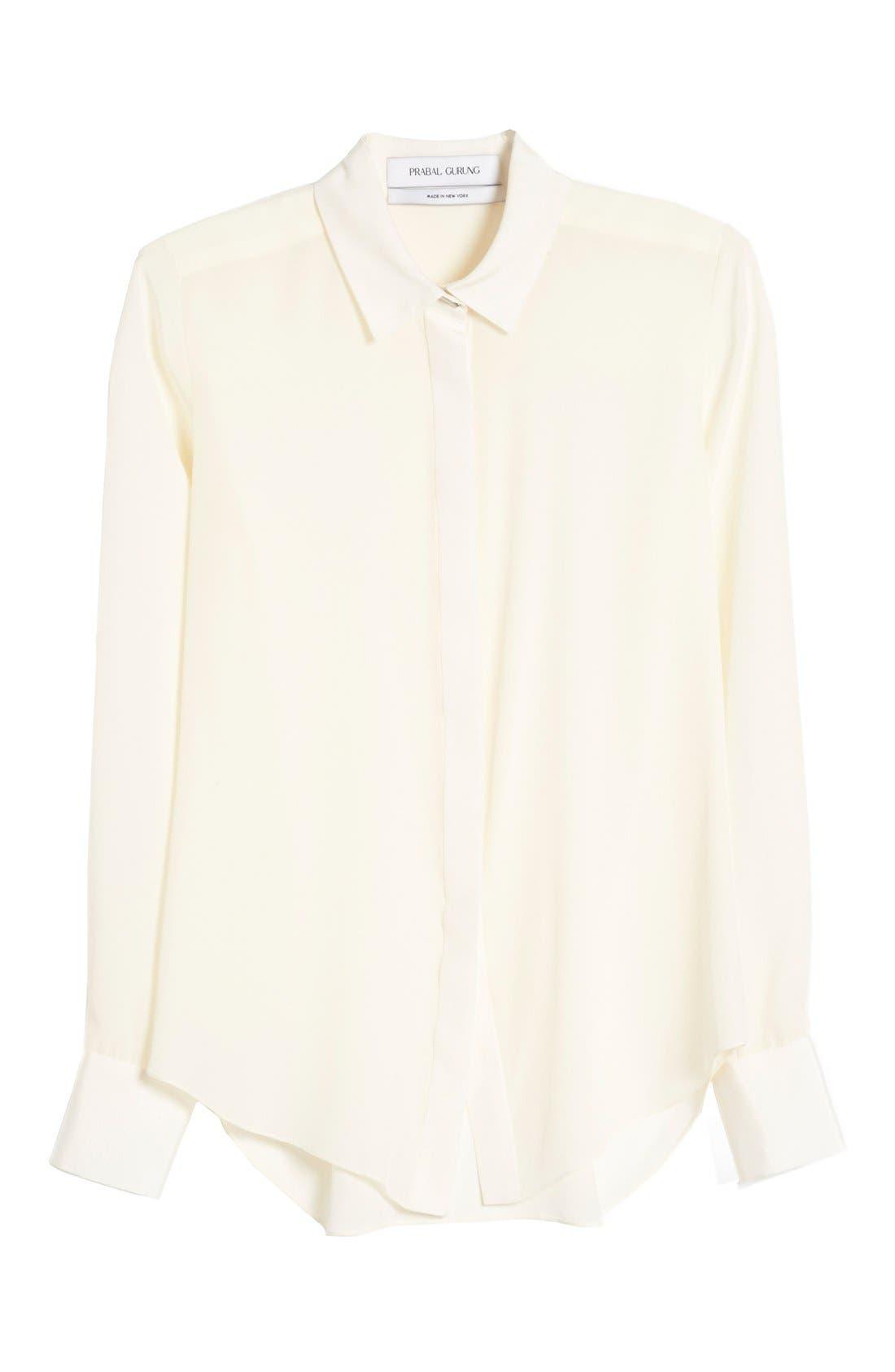 Alternate Image 4  - Prabal Gurung Button Front Silk Blouse