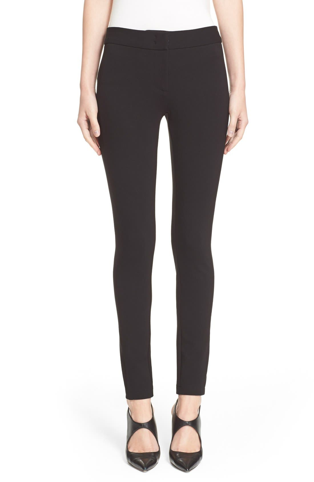 Armani Collezioni Double Face Jersey Leggings,                             Main thumbnail 1, color,                             Black