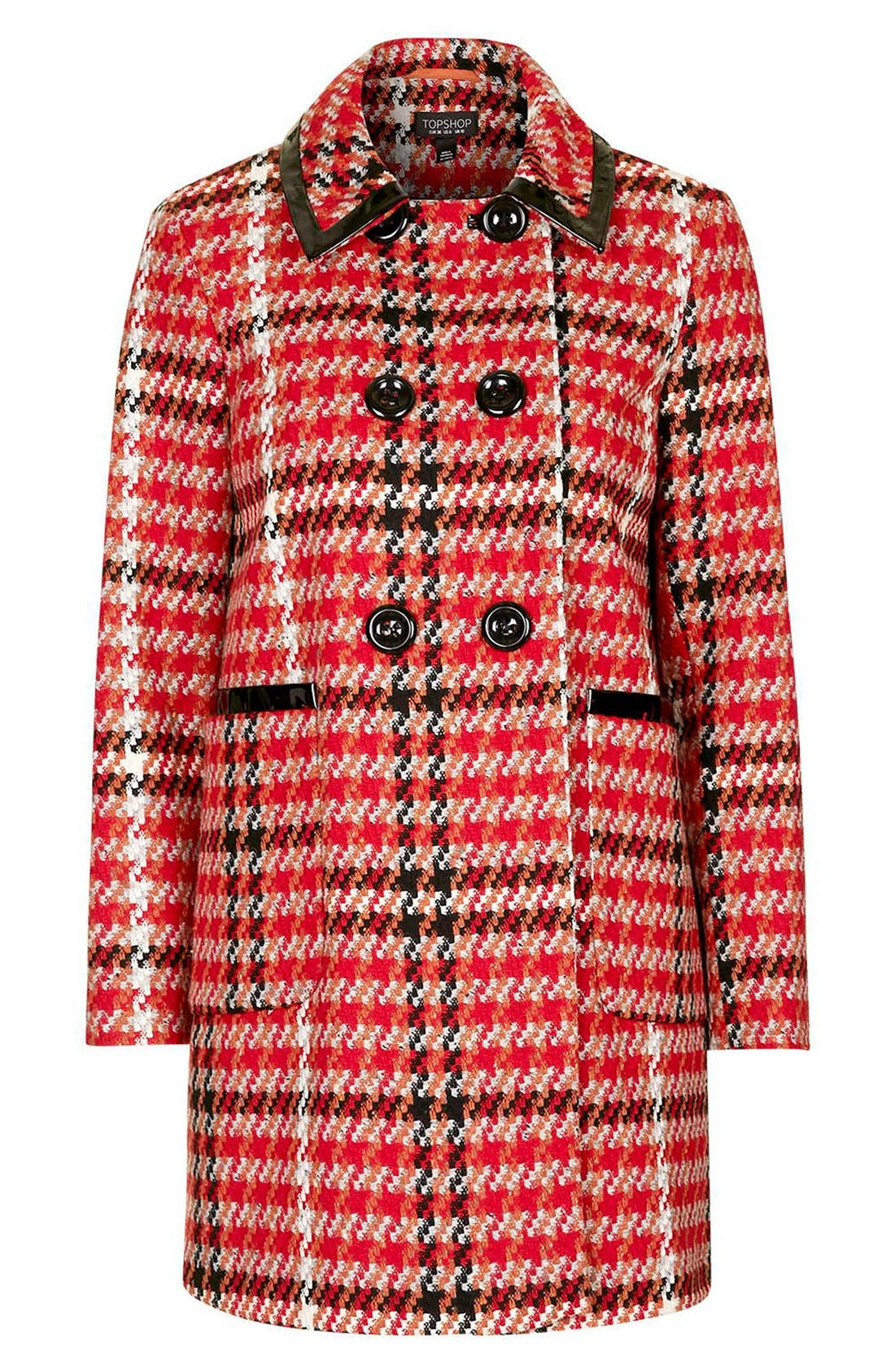 Check Double Breasted Coat,                             Alternate thumbnail 4, color,                             Red Multi