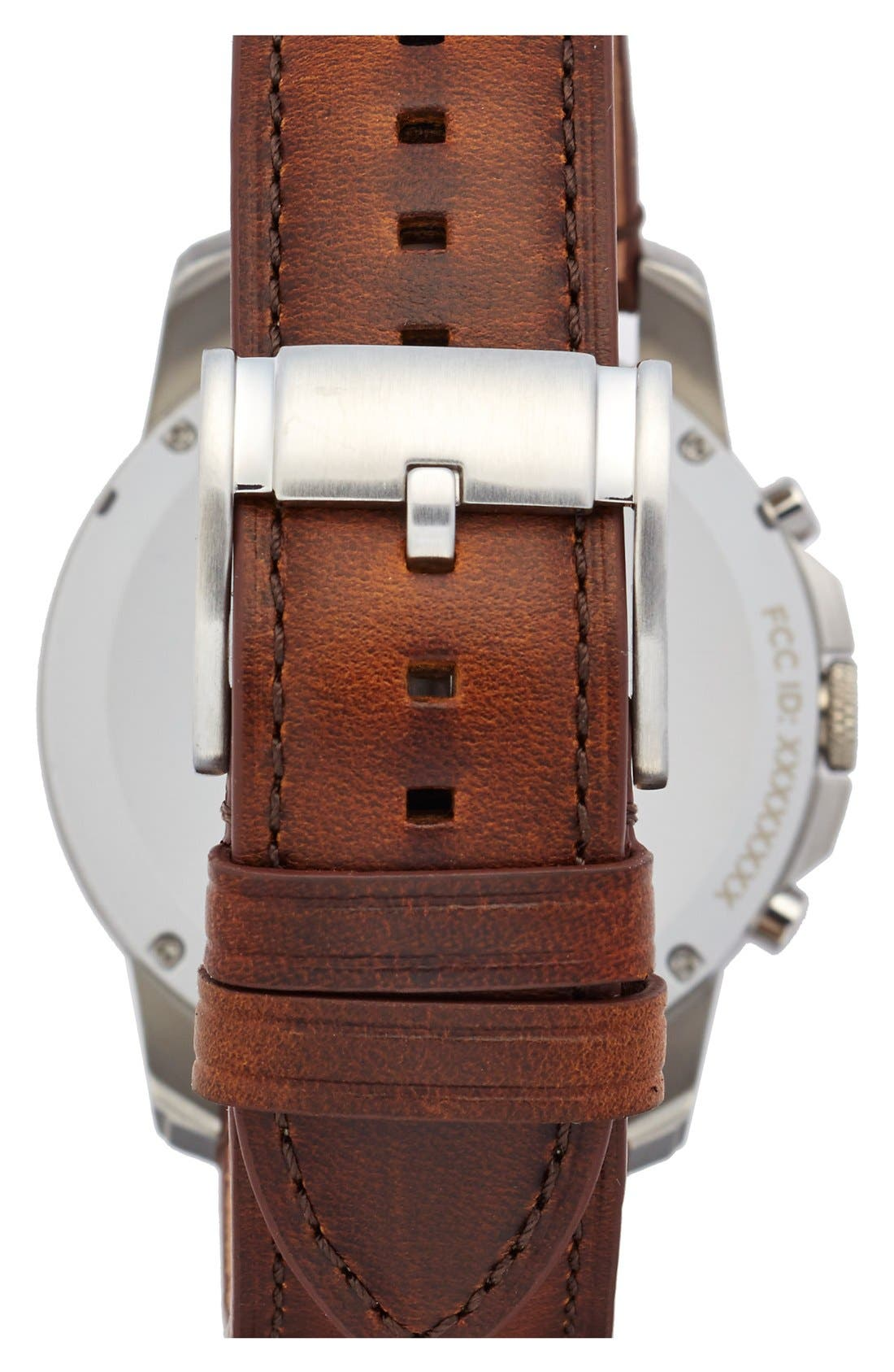 Fossil 'Fossil Q - Grant' Round Chronograph Leather Strap Smart Watch, 44mm,                             Alternate thumbnail 2, color,                             Brown/ Egg Shell