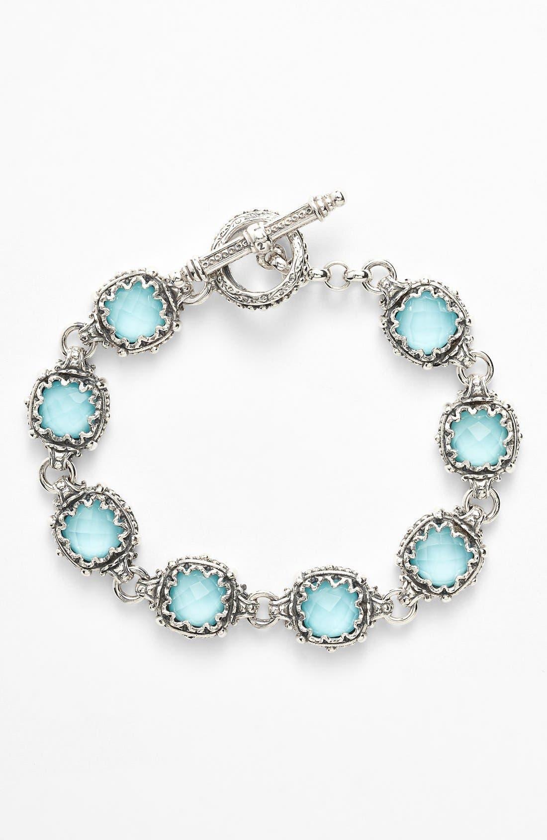 'Aegean' Station Link Bracelet,                             Main thumbnail 1, color,                             Silver/ Turquoise
