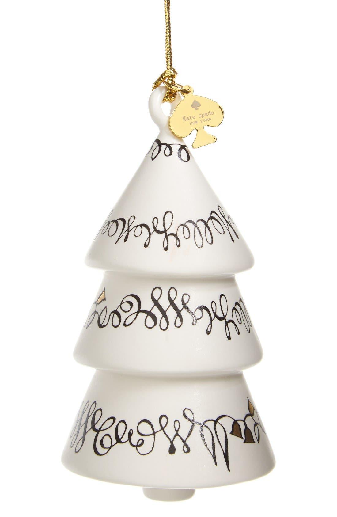'woodland park' porcelain tree ornament,                         Main,                         color, White/ Black/ Gold
