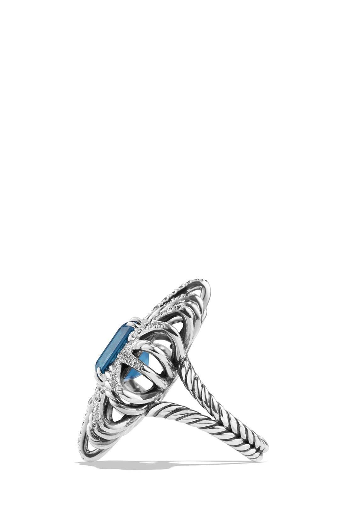 'Starburst' Ring with Semiprecious Stone and Diamonds,                             Alternate thumbnail 3, color,                             Hampton Blue Topaz