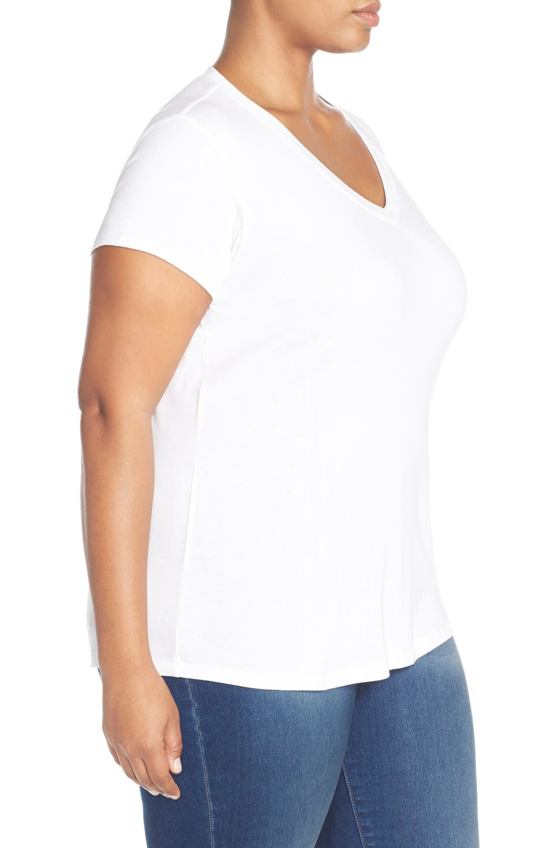 Short Sleeve V-Neck Tee,                             Alternate thumbnail 3, color,                             White