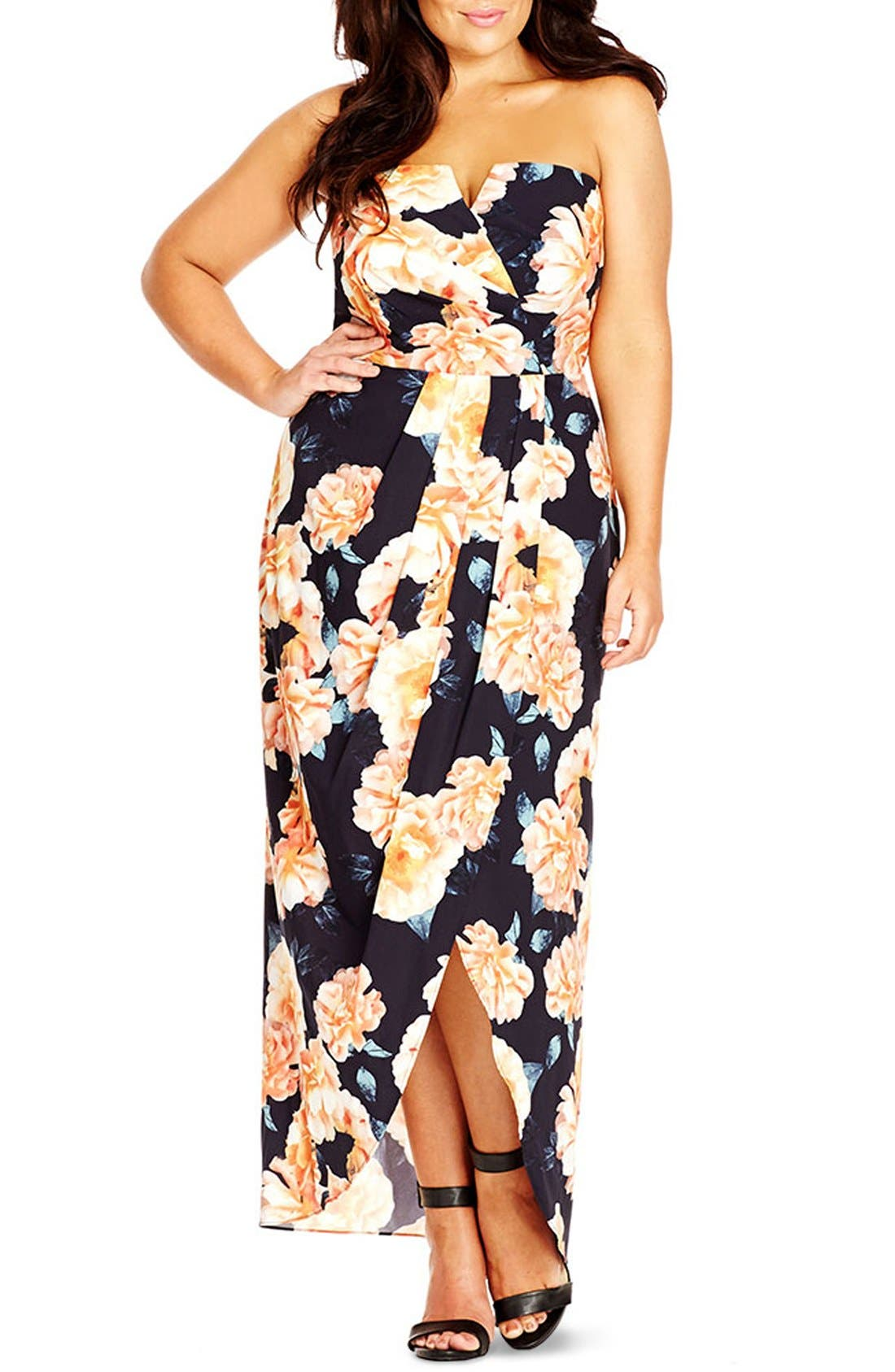 Main Image - City Chic Tulip Time Floral Print Maxi Dress (Plus Size)