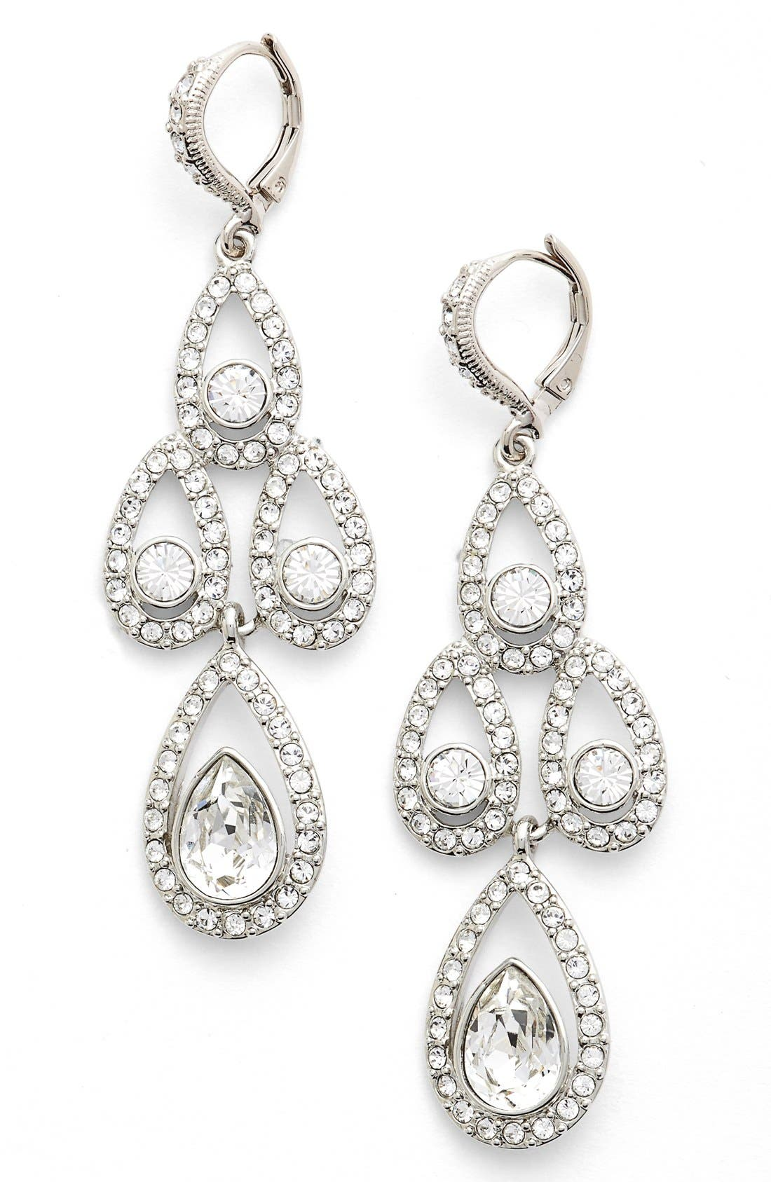 Crystal Chandelier Drop Earrings,                             Main thumbnail 1, color,                             Silver