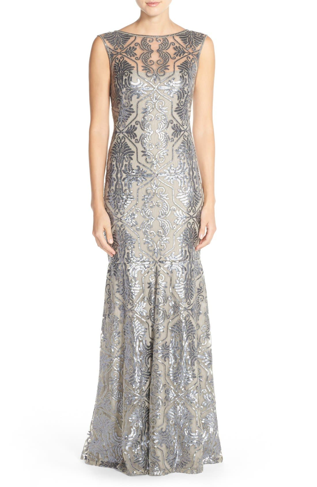 Sequin Tulle Mermaid Gown,                             Main thumbnail 1, color,                             Duchess Grey