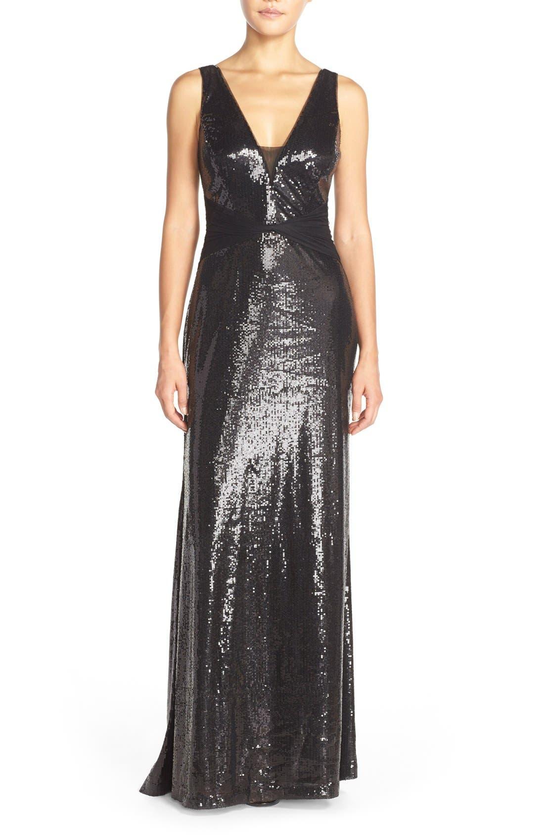 Main Image - Vera Wang Mesh Inset Sequin Gown