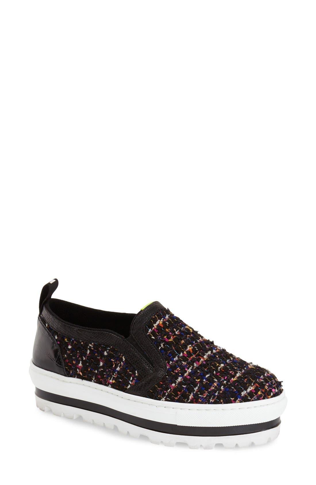 Alternate Image 1 Selected - MSGM Tweed Platform Slip-On Sneaker (Women)