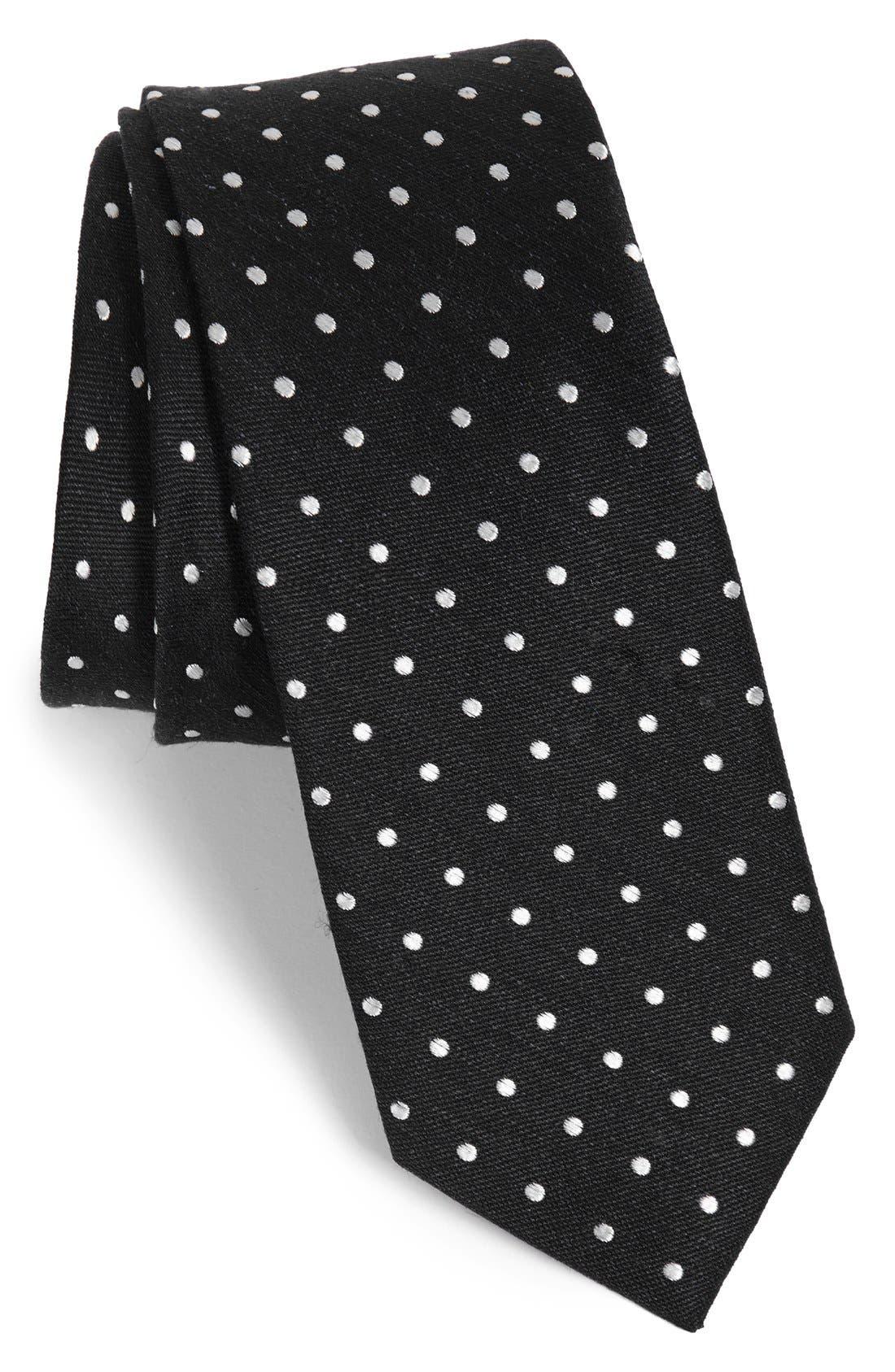 The Tie Bar Dot Silk & Linen Tie