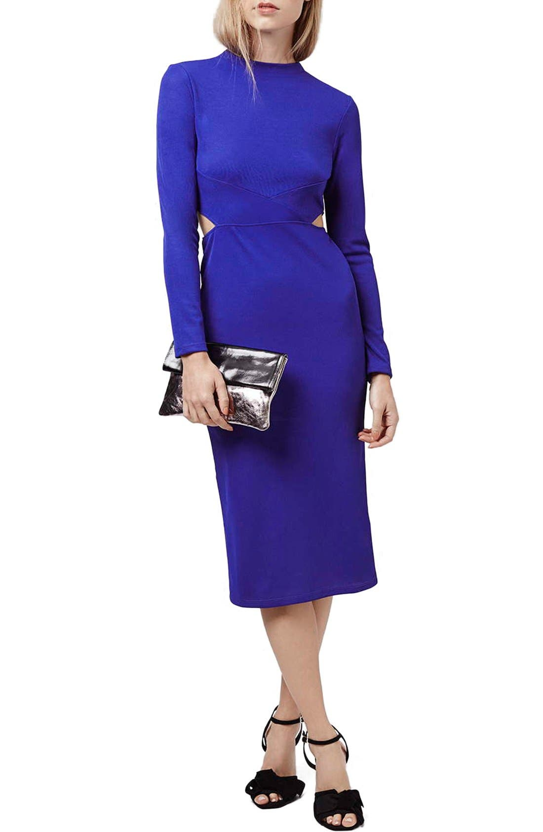 Alternate Image 1 Selected - Topshop Paneled Long Sleeve Midi Dress