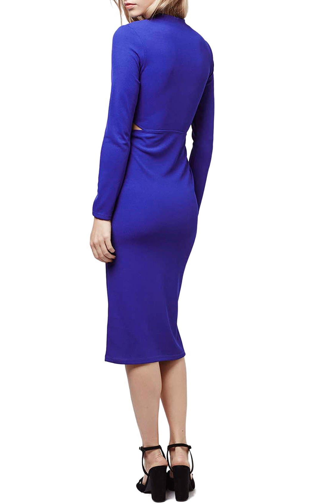 Alternate Image 2  - Topshop Paneled Long Sleeve Midi Dress