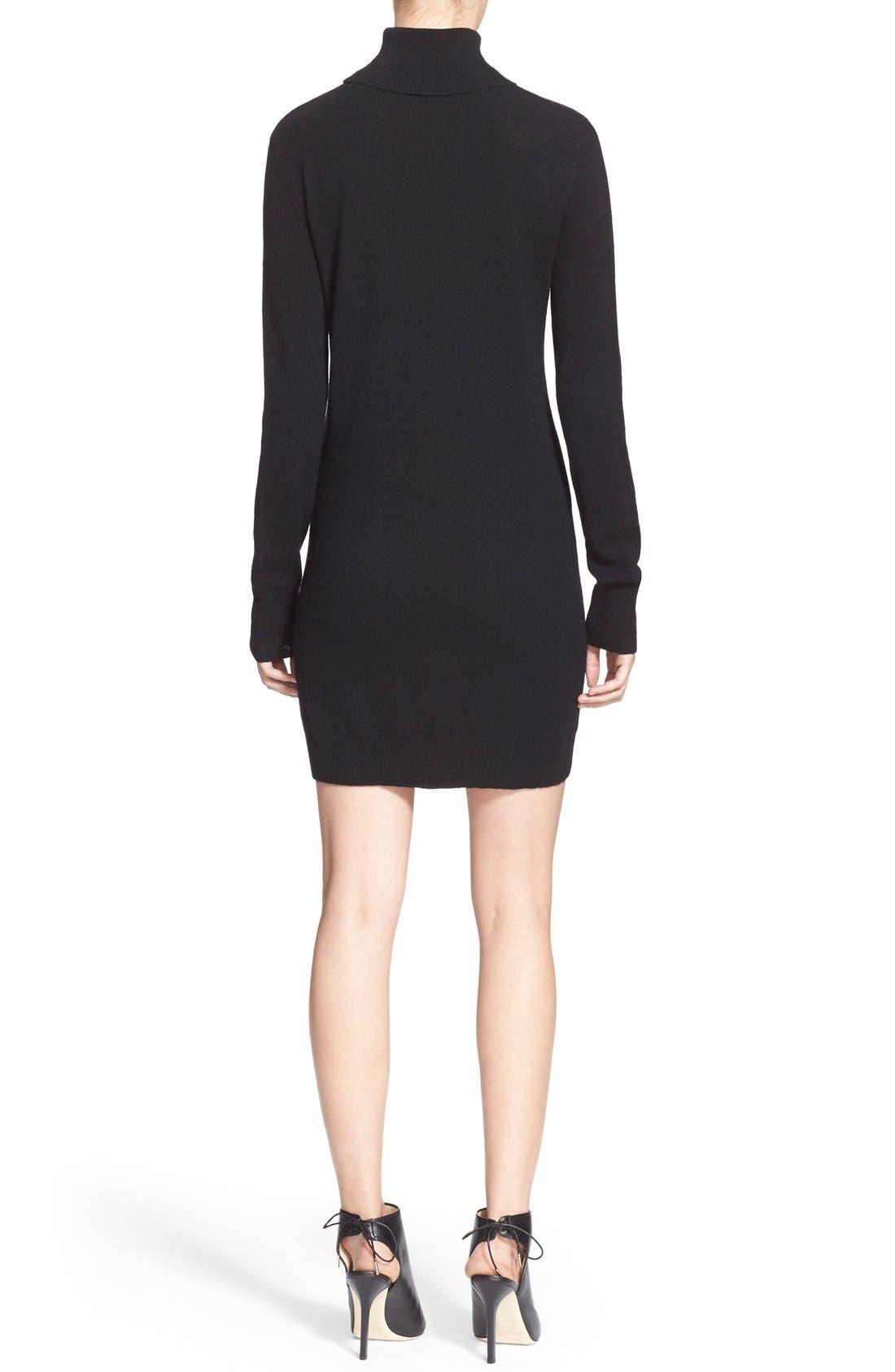 'Oscar' Turtleneck Sweater Dress,                             Alternate thumbnail 2, color,                             Black