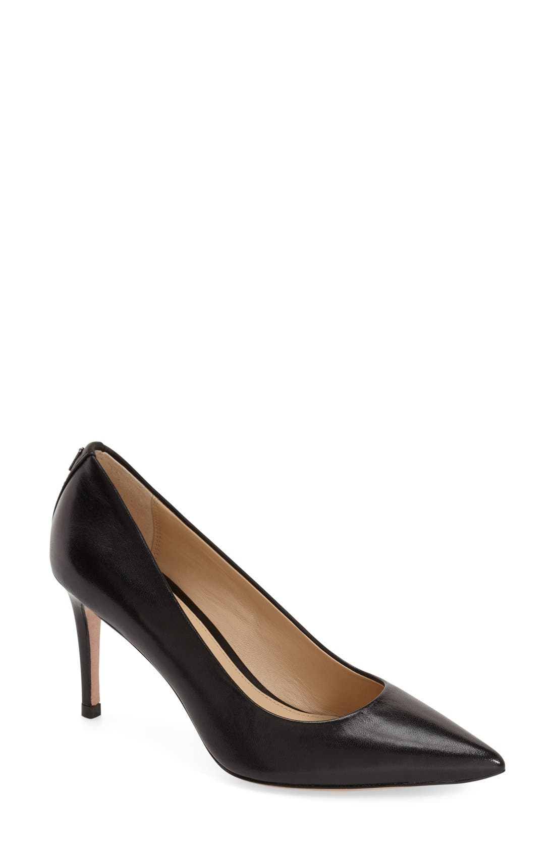 'Smith' Pointy ToePump,                             Main thumbnail 1, color,                             Black Leather