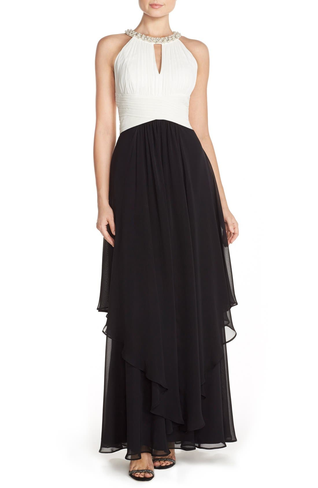 Embellished Colorblock Chiffon Gown,                             Main thumbnail 1, color,                             Black/ White
