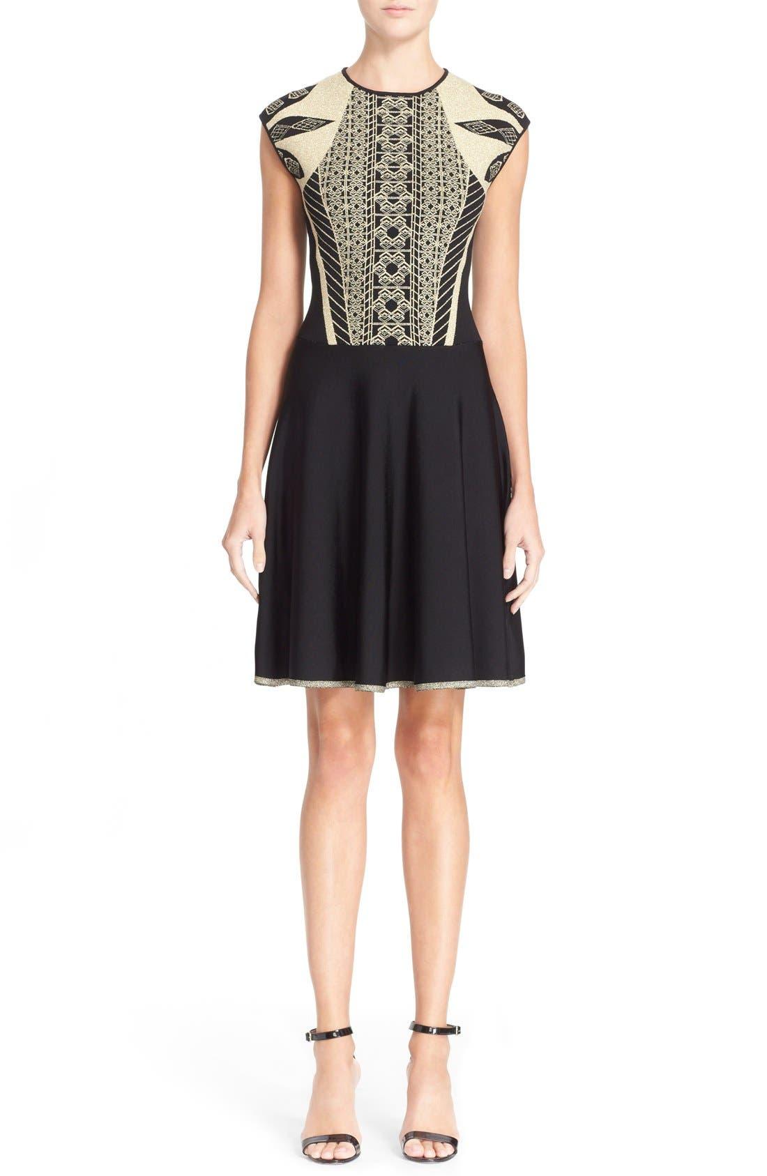 Main Image - Ted Baker London 'Jenkin' Metallic Jacquard Fit & Flare Dress