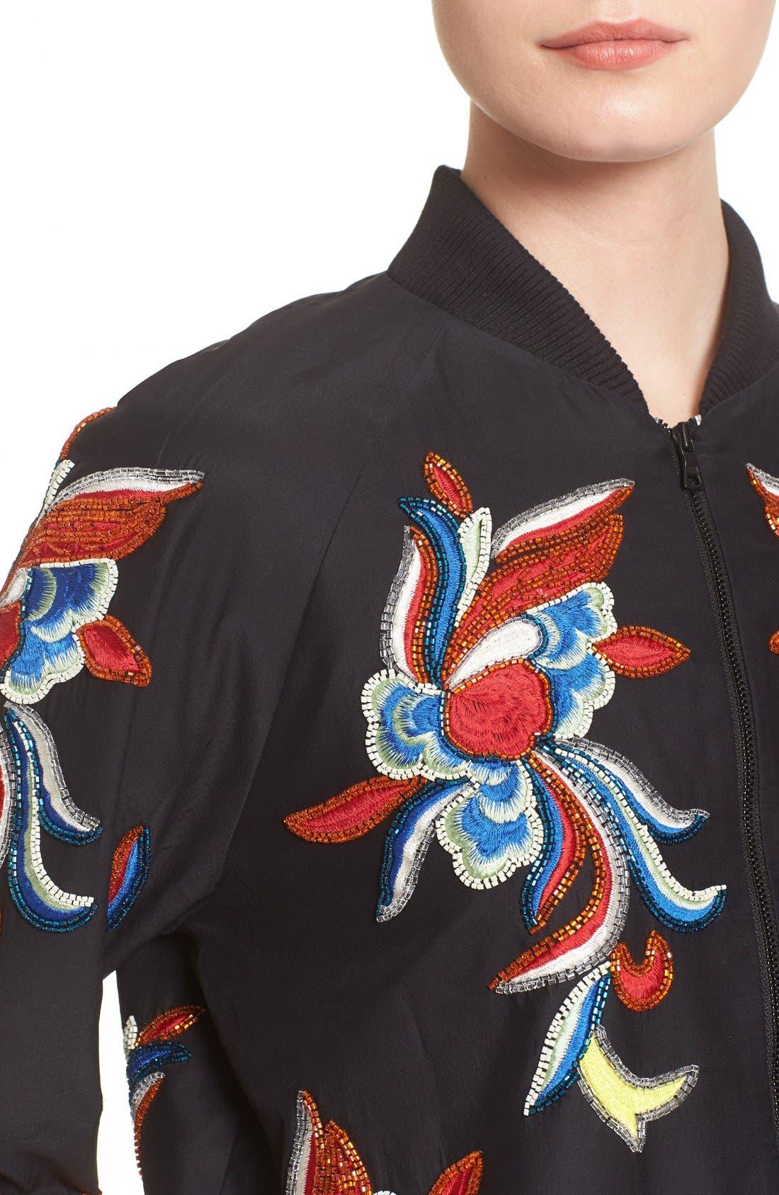 'Felisa' Embellished Silk Bomber Jacket,                             Alternate thumbnail 4, color,                             Black/ Multi