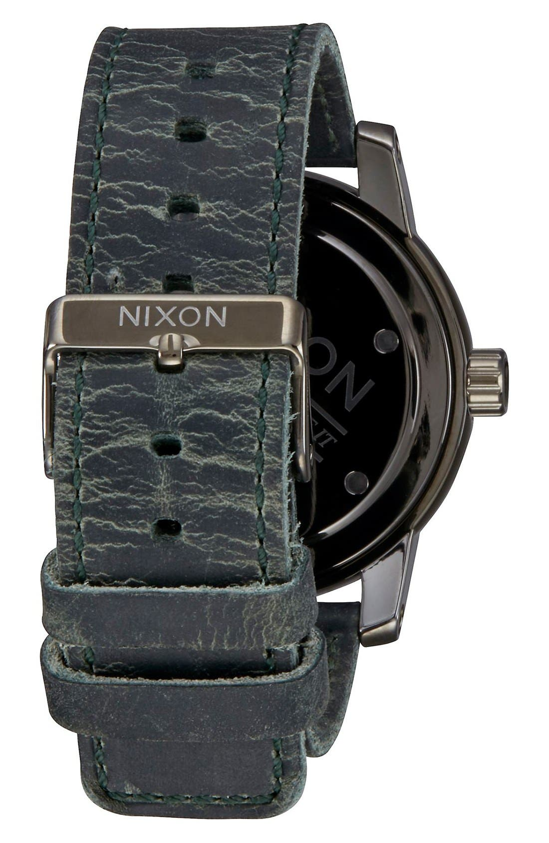 'The Patriot' Leather Strap Watch, 45mm,                             Alternate thumbnail 2, color,                             Gunmetal/ Black