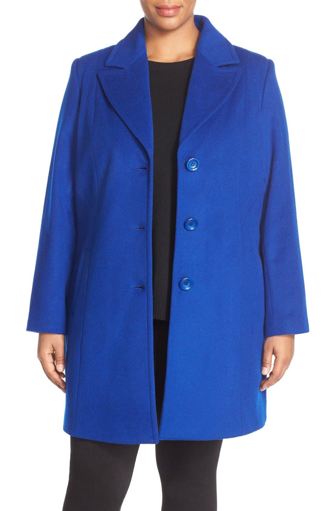 Kristen Blake Notch Collar Wool Blend Coat (Plus Size)