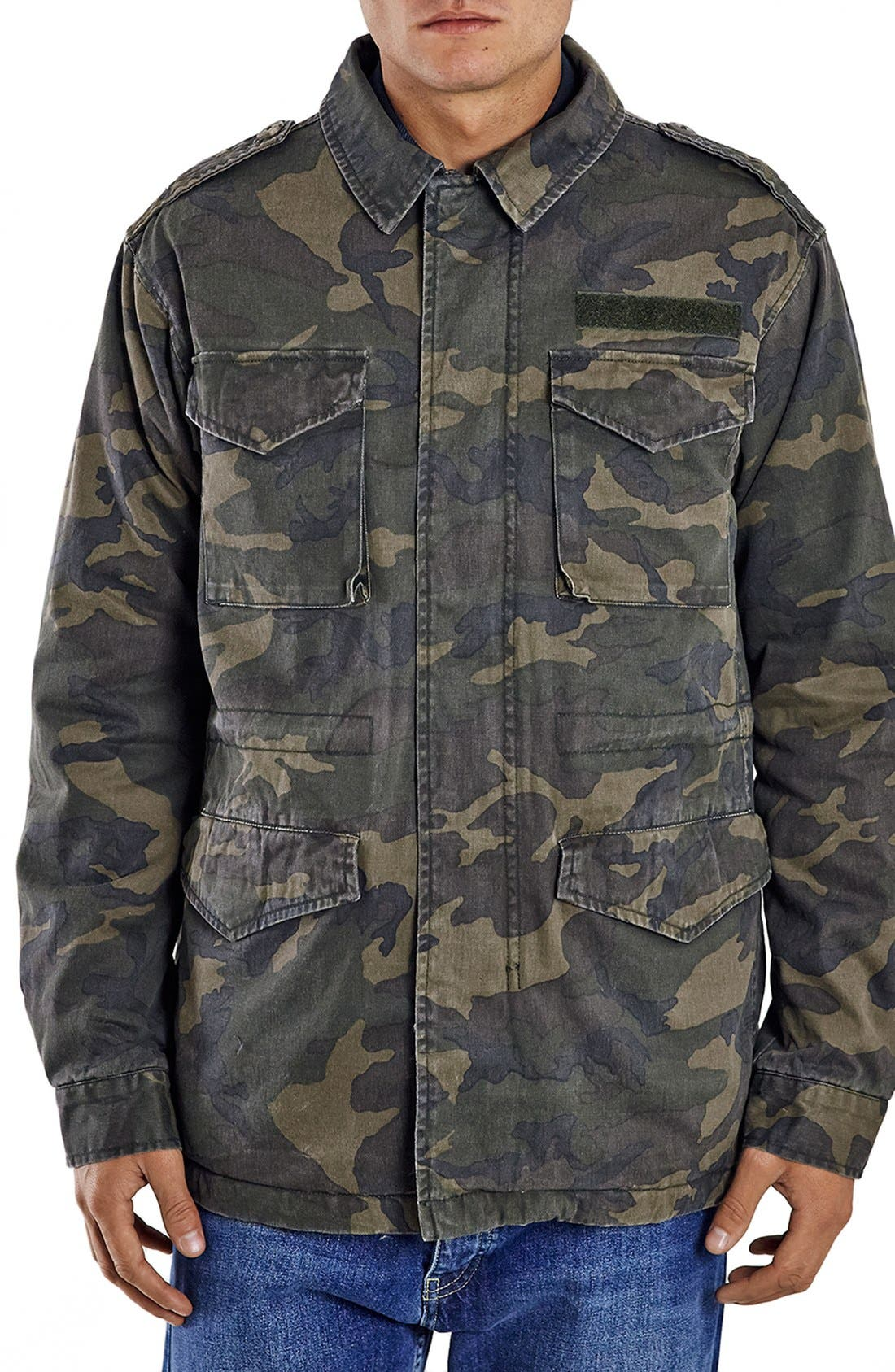 Topman Camo Print M-65 Field Jacket with Plush Lining