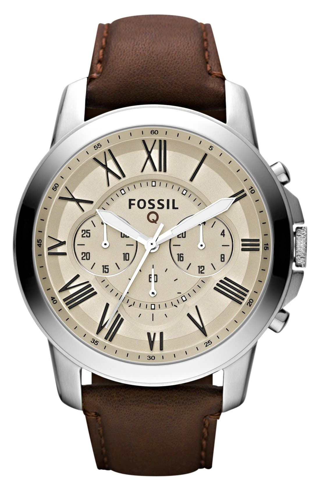 Fossil 'Fossil Q - Grant' Round Chronograph Leather Strap Smart Watch, 44mm,                             Main thumbnail 1, color,                             Brown/ Egg Shell