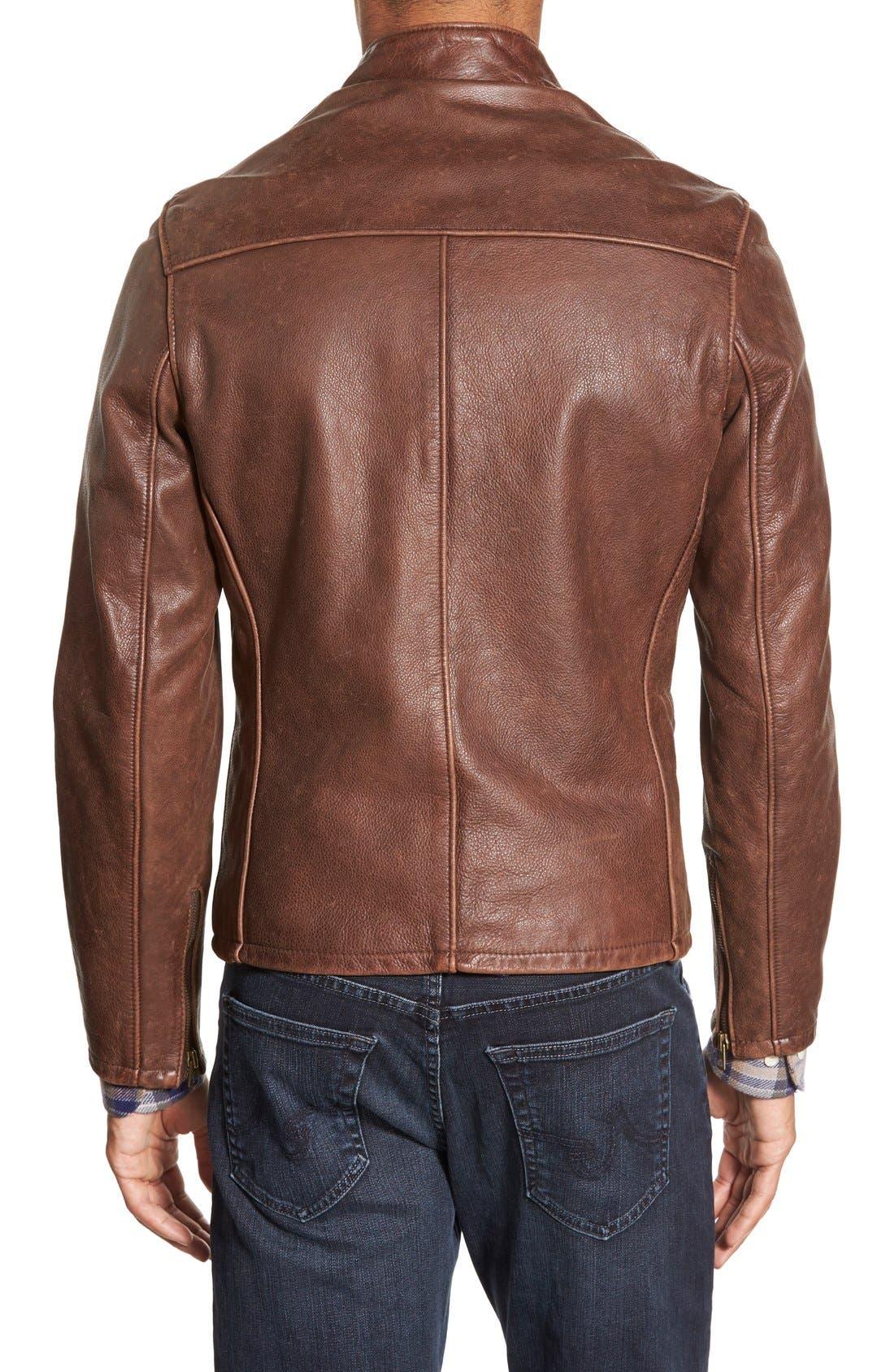 Alternate Image 2  - Schott NYC Café Racer Slim Fit Leather Jacket