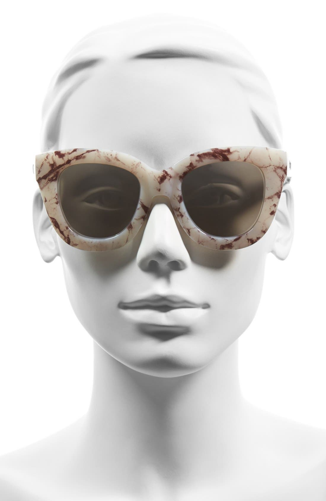 'Sugar and Spice' 50mm Cat Eye Sunglasses,                             Alternate thumbnail 3, color,                             White Marble/ Smoke Lens