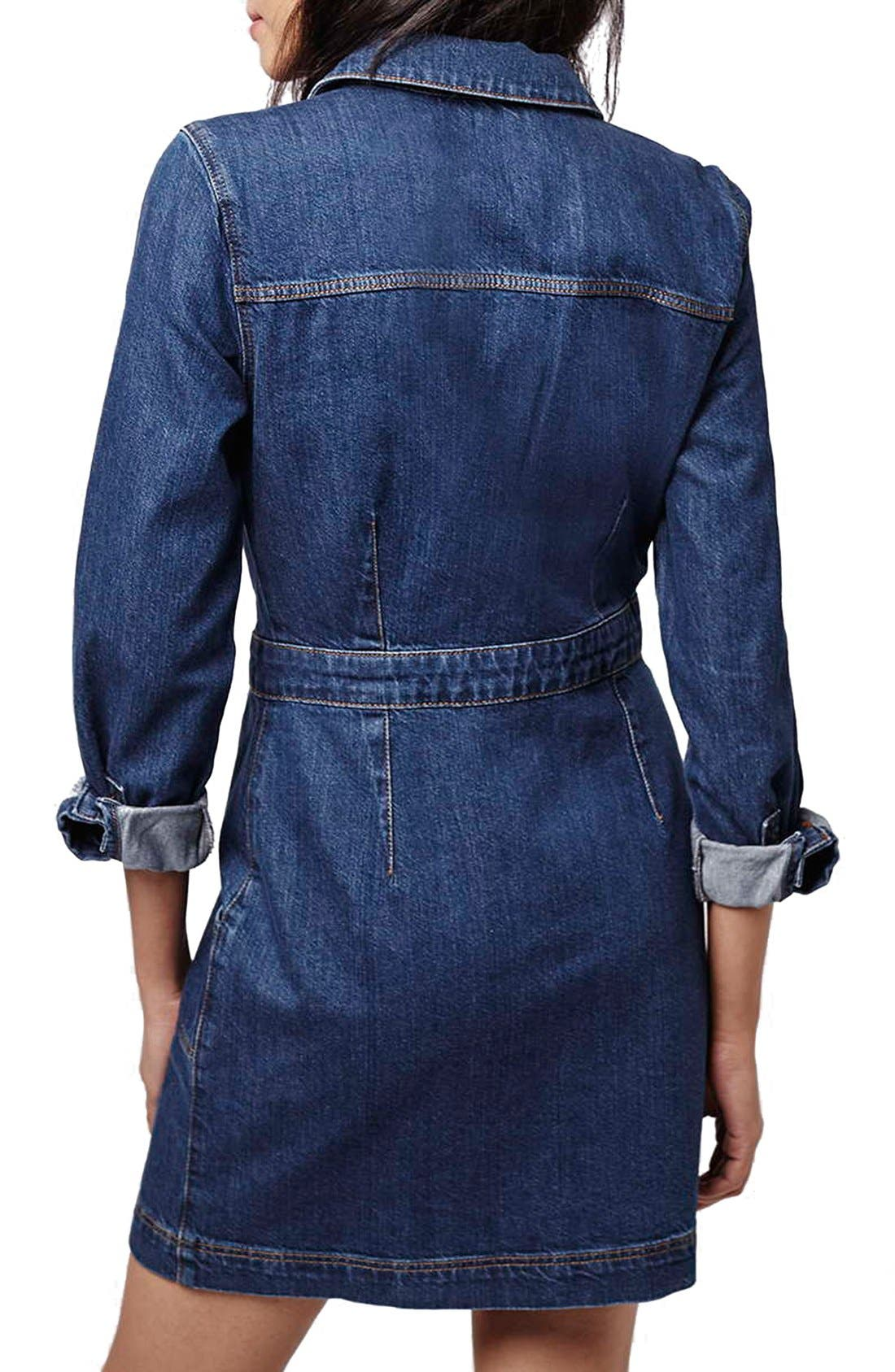 Alternate Image 2  - Topshop Denim Western Shirtdress