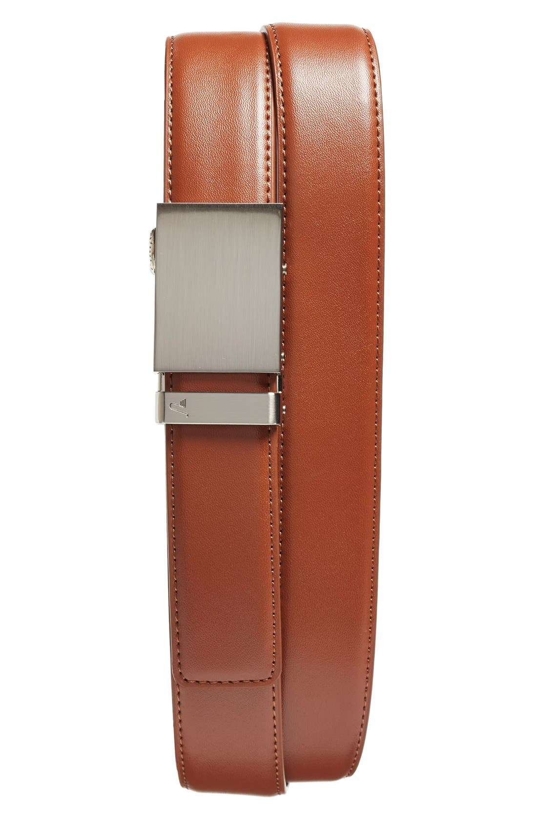 'Steel' Leather Belt,                             Main thumbnail 1, color,                             Steel/ Saddle Brown