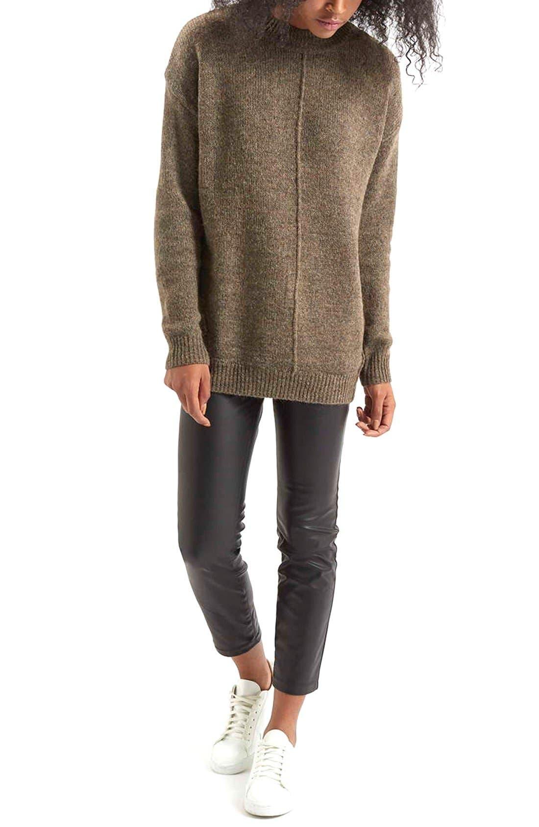Faux Leather Crop Trousers,                             Alternate thumbnail 3, color,                             Black