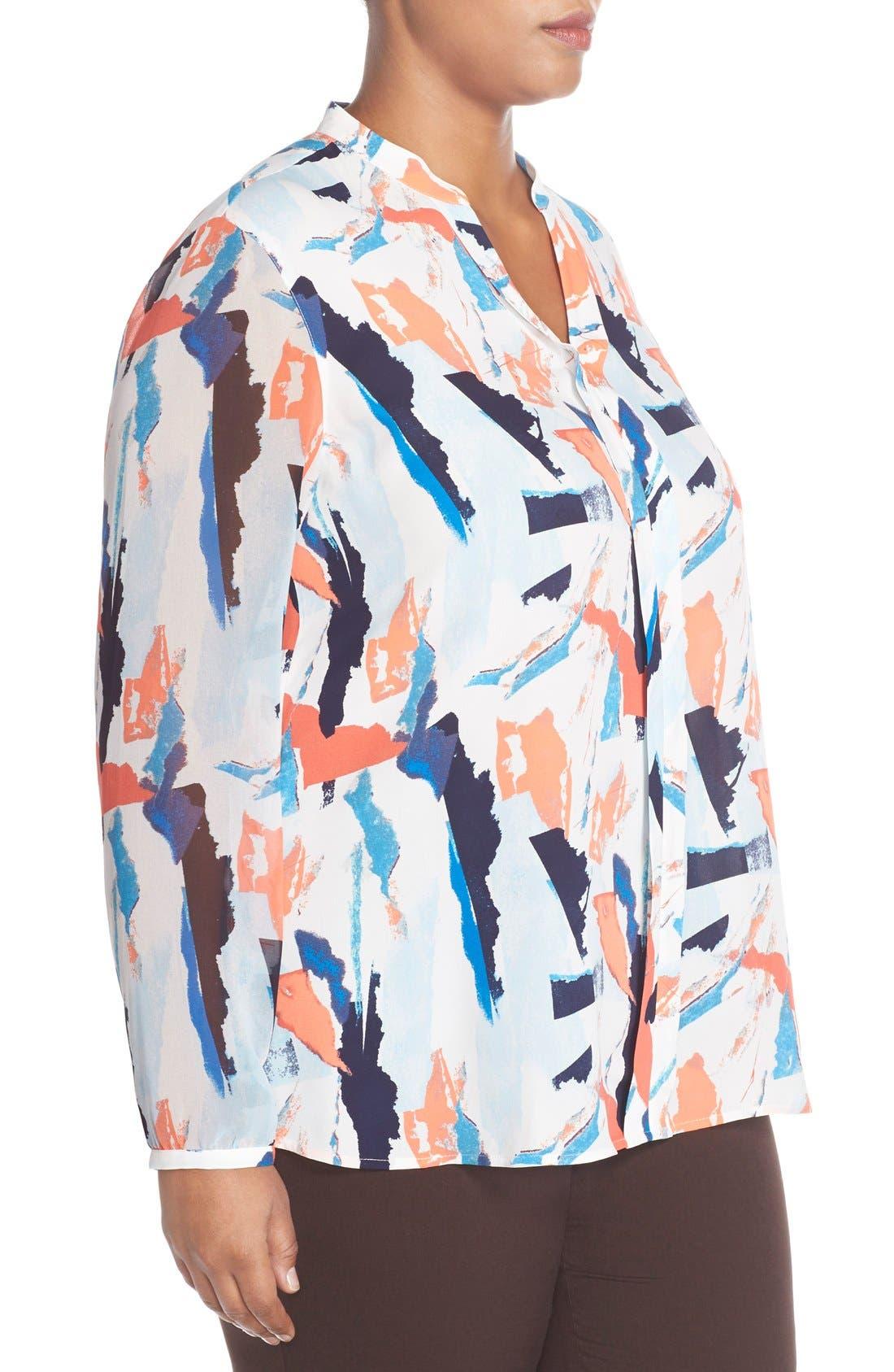 Sheer Sleeve Split Neck Blouse,                             Alternate thumbnail 3, color,                             Blue Abstract Ship Print