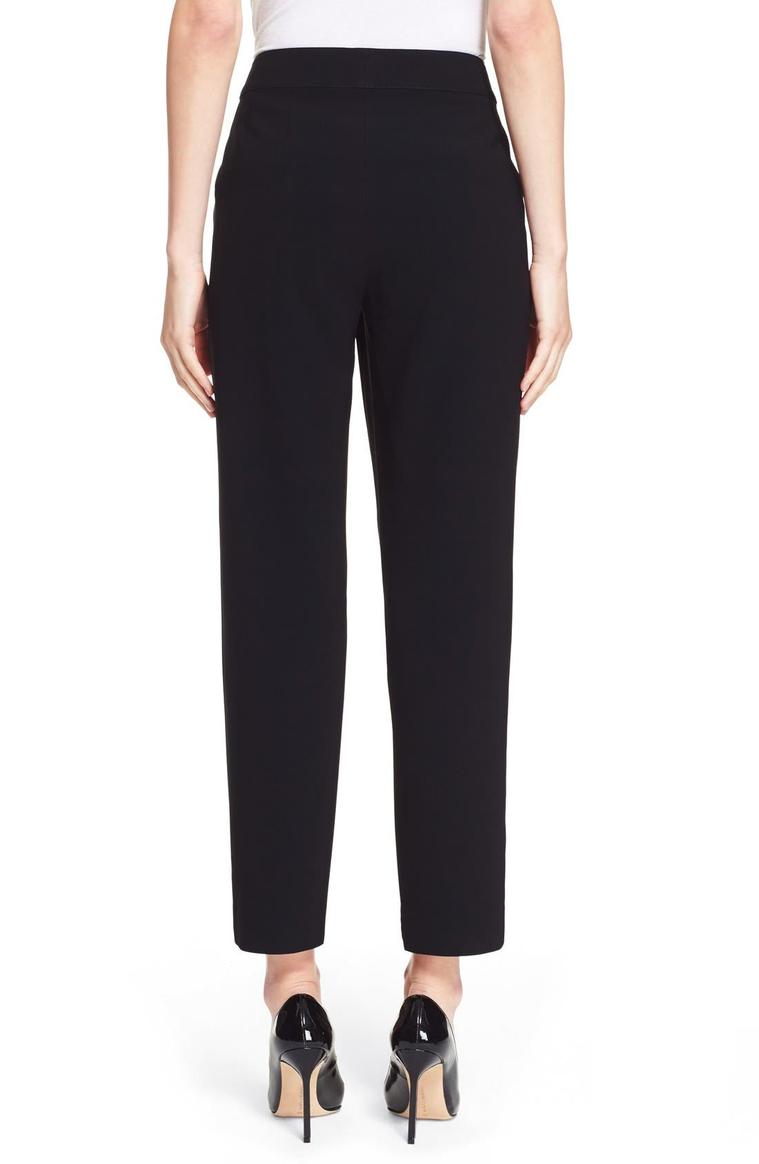 'Emma' Crop Crepe Marocain Pants,                             Alternate thumbnail 2, color,                             Caviar