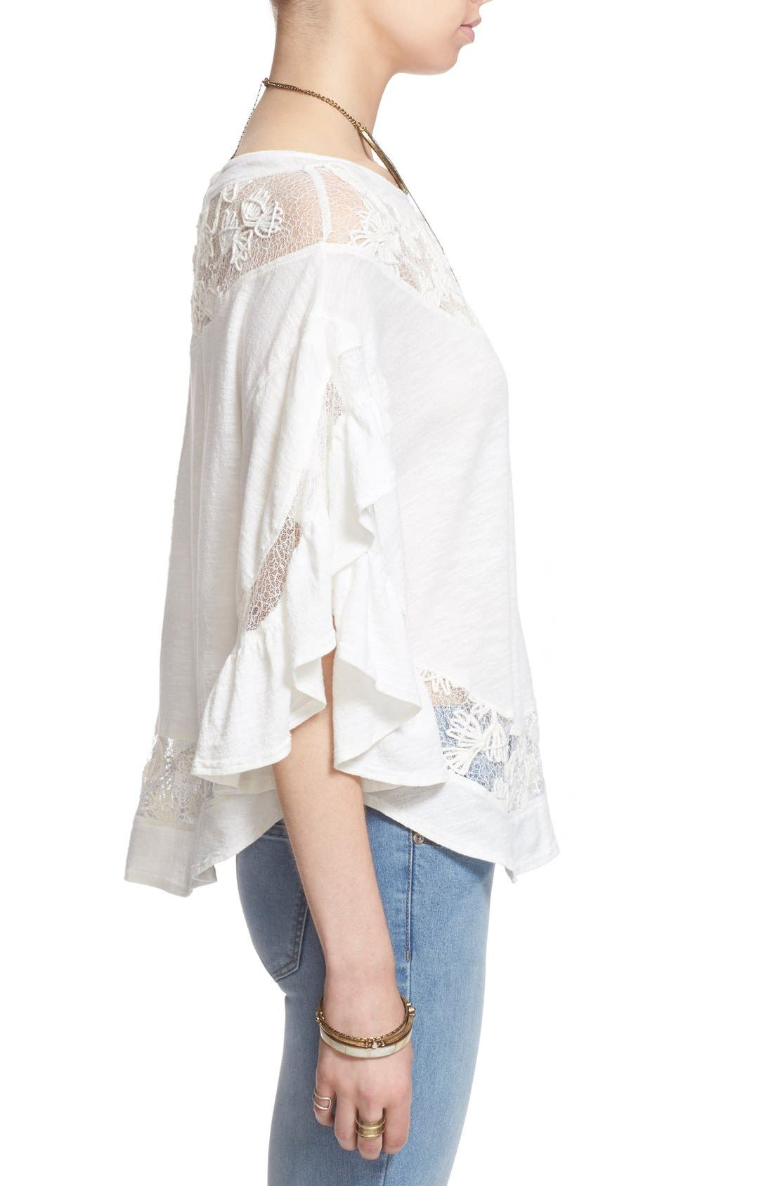 'Love Affair' Lace Inset Knit Top,                             Alternate thumbnail 4, color,                             Ivory