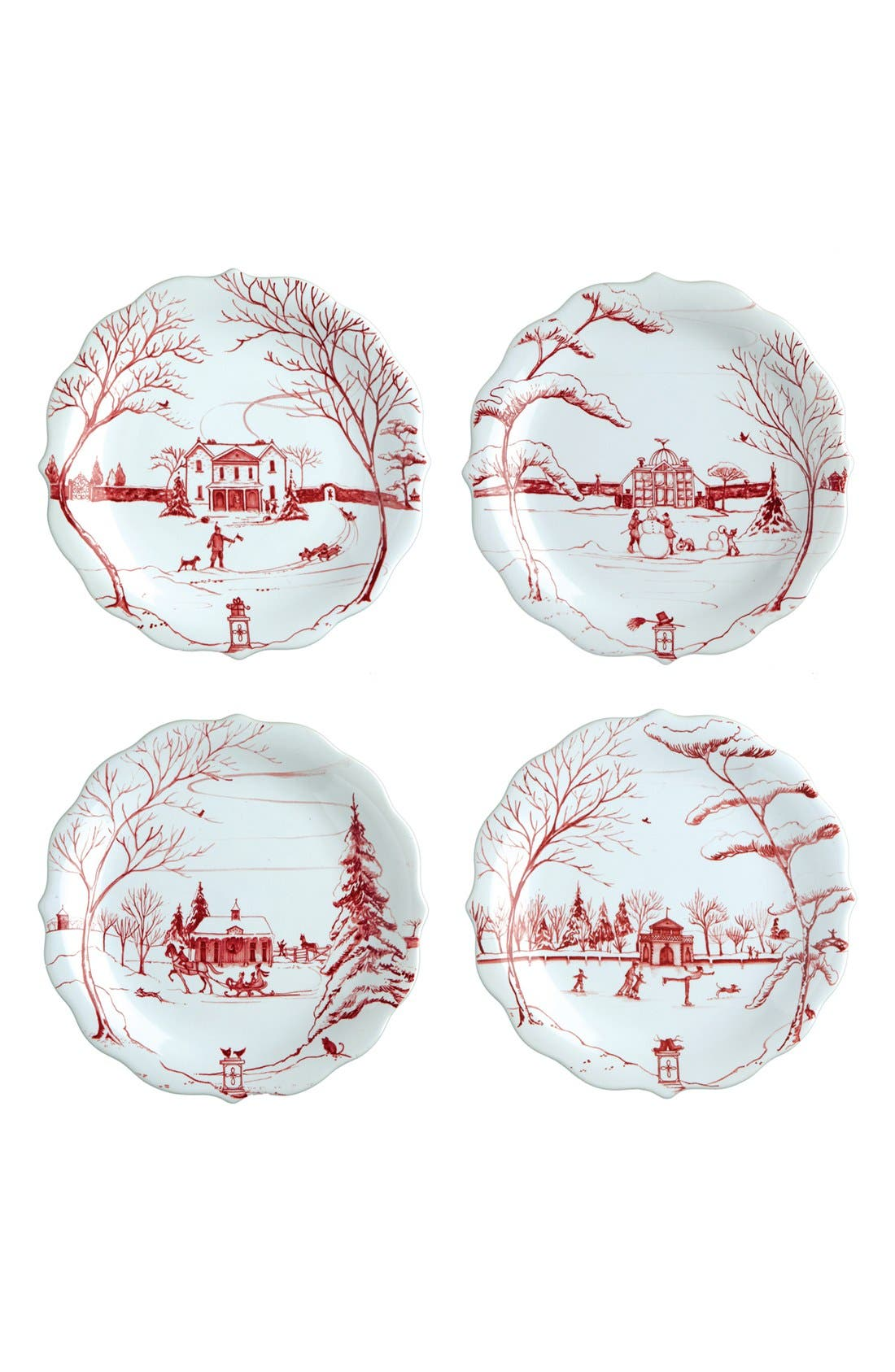 'Country Estate Ruby' Ceramic Party Plates,                             Main thumbnail 1, color,                             Ruby