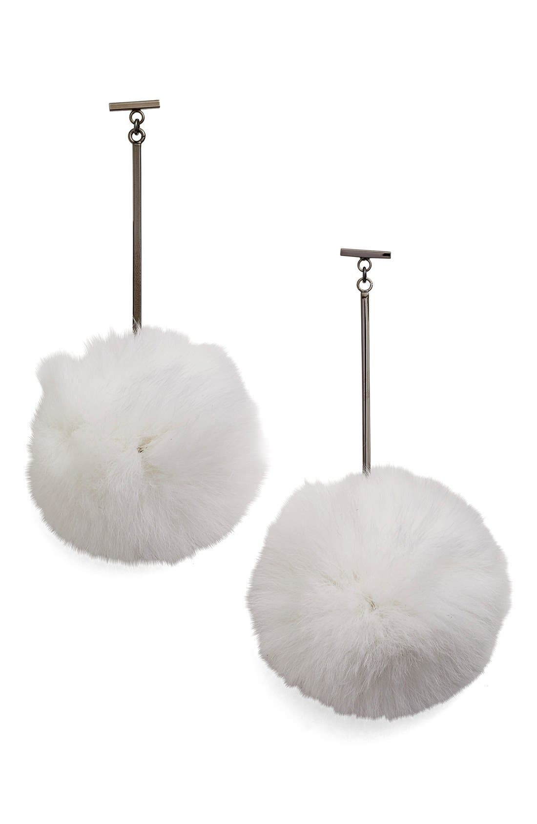 Main Image - Tuleste 'Pom Pom' Genuine Rabbit Fur Drop Earrings