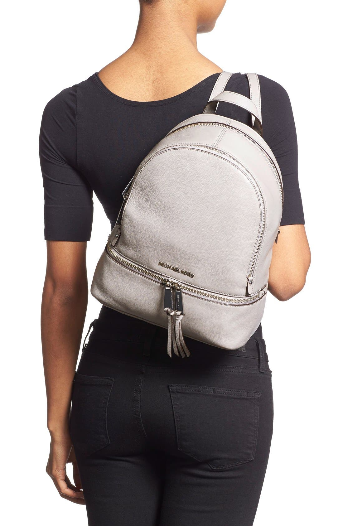 'Small Rhea Zip' Leather Backpack,                             Alternate thumbnail 2, color,                             Pearl Grey/ Silver