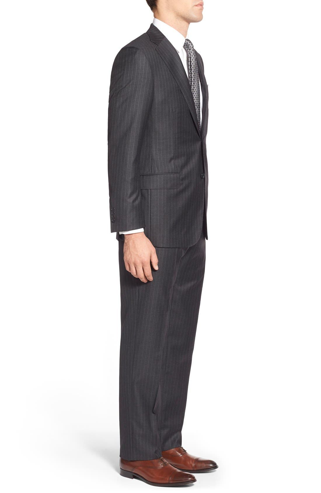 'Beacon - B Series' Classic Fit Stripe Wool Suit,                             Alternate thumbnail 3, color,                             Grey