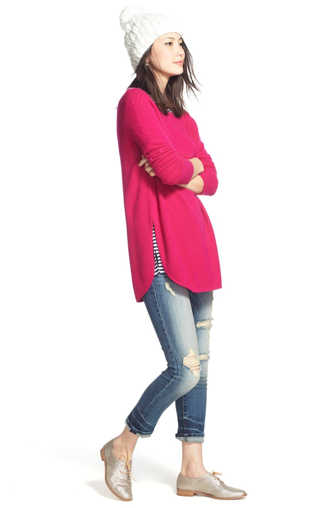 Alternate Image 3  - Halogen® Shirttail Wool & Cashmere Boatneck Tunic (Regular & Petite)