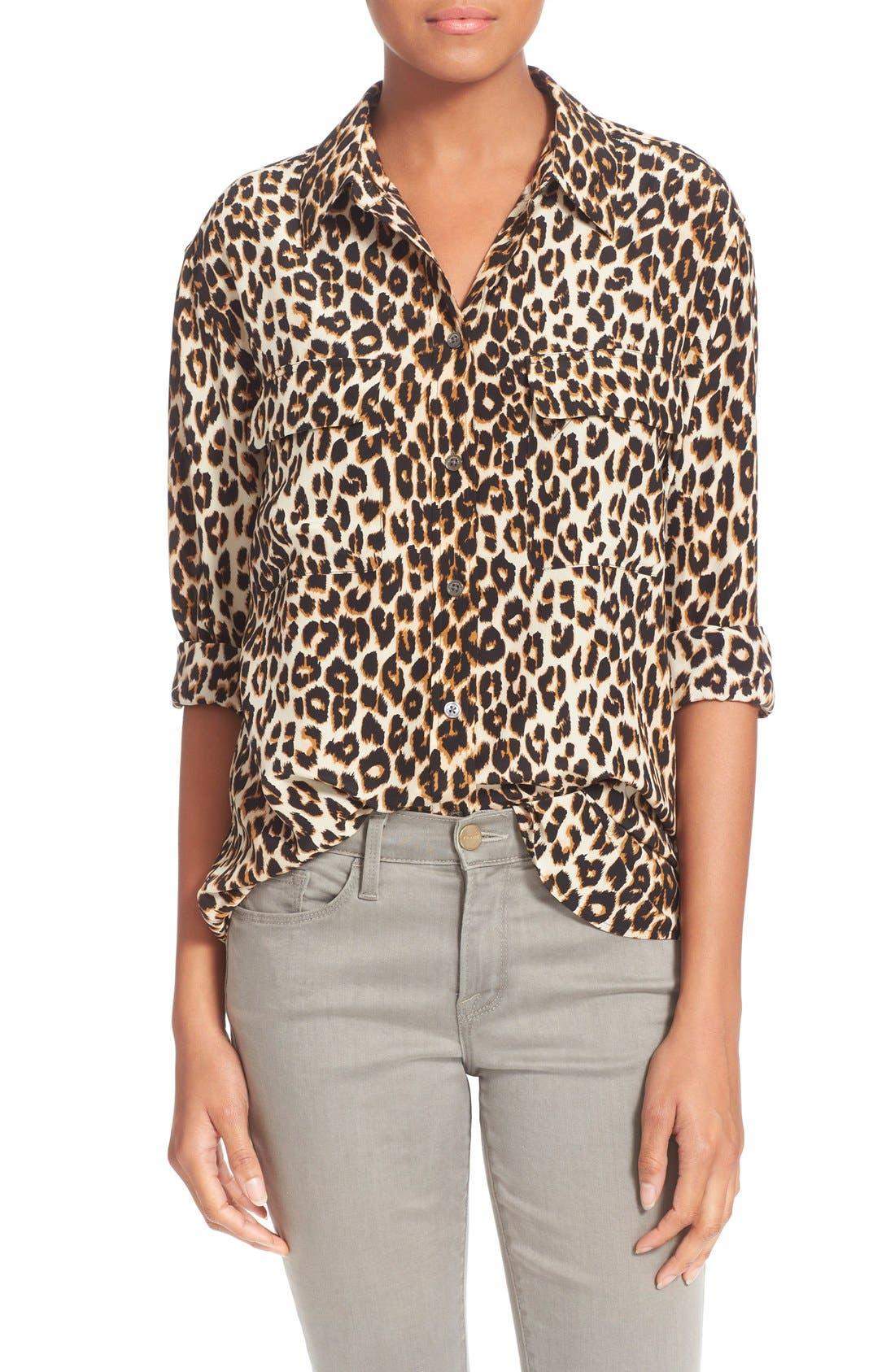 'Slim Signature' Silk Shirt,                         Main,                         color, Natural