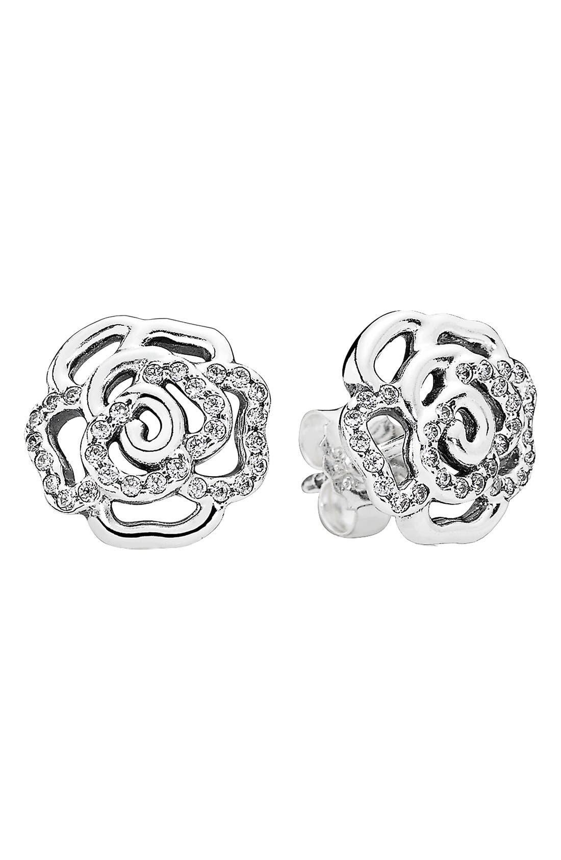 Main Image - PANDORA 'Shimmering Rose' Stud Earrings