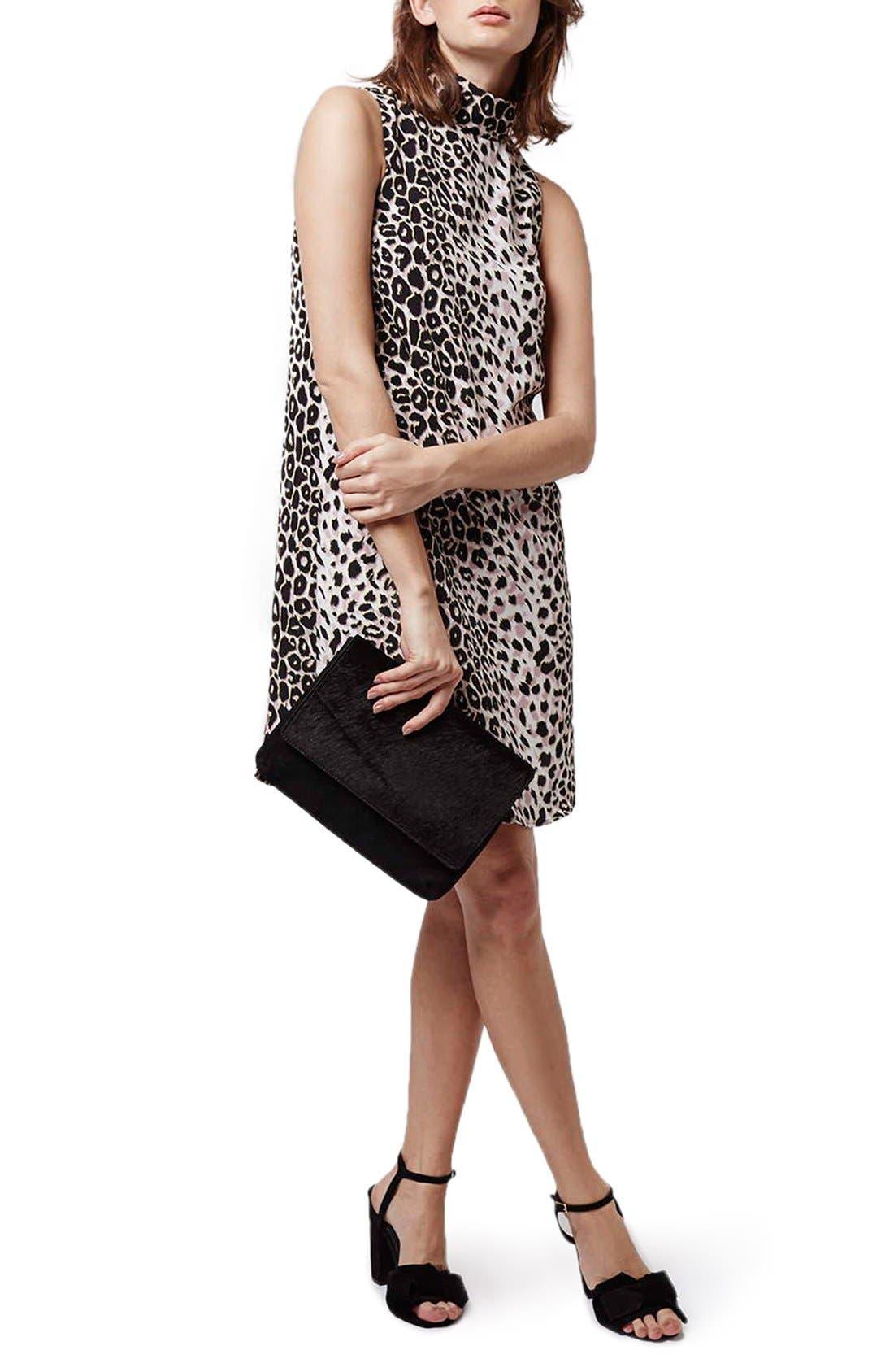 Leopard Print Funnel Neck Tunic Dress,                             Alternate thumbnail 2, color,                             Grey Multi